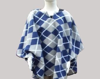 Fleece Blue and Gray Argyle Children's Poncho