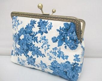 Kiss Lock Bag Navy Flower Women Girl Bridesmaid Purses Wallet Clutch-Bridal Shower Gift,Makeup,Cosmetic Bag,Evening/Phone bag,GET FREE GIFT