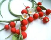 Felted necklace  Cherry - Felt necklace- Handmade- Wool necklace - Necklace Red cherry