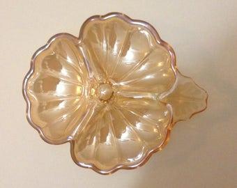 Vintage Jeannette, Carnival Glass Divided Candy/Nut Dish, Marigold