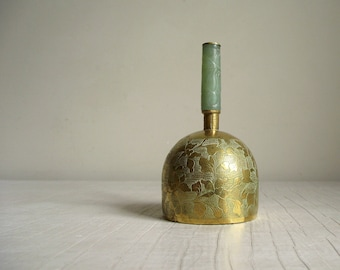 Antique Chinese Bell , Engraved Brass Bell with Carved Jade Handle , Collectible Brass Hand Bell , Chinoiserie Chic Asian Decor