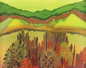 South California Cactus Sanctuary Landscape Original Silk Painting 11 x 14 inch