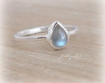 Labradorite Ring Sterling Silver Bezel Set, Handmade, Stacking Ring, Boho Ring, Pear Shaped Ring Gemstone, NEW