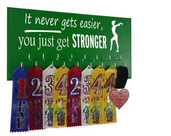 Gymnastics award holder, ribbon hanger, Medal Display Rack for gymnast, Gifts for gymnast, It never gets easier, you just get stronger.