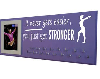 Gymnastics medal holder, Gymnastics gifts, gymnast gift, it never gets easier, you just get stronger with gymnast silhouette