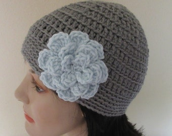 Grey Beanie with Attached Crocheted Blue Flower, Cold Weather Hat, Grey Cloche, Flapper Hat, Grey Snow Hat