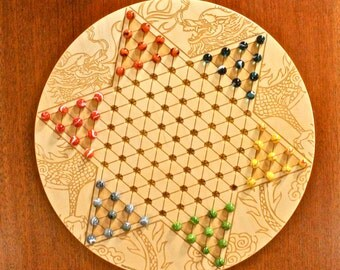 "High Quality Large Chinese Checkers w 16mm/5/8"" designer Marbles- Dragon Pattern Laser Engraved,  18 5/8"" Dia x 5/8"" thick,  Paul Szewc"