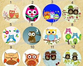 Moving 50off Sale - NEW Collection 25mm/20mm/12mm Handmade Owl Photo Glass Cabochon CPC222