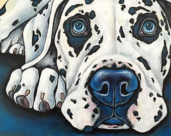 Great Dane Portrait Original Acrylic Painting 10x20x1.5  Dog Art Pet Lover Great Dane Dog Art Pet Art