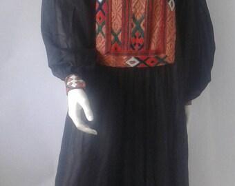 LONG BLACK Vintage DRESS from 70s.  Boho dress. Hippie dress