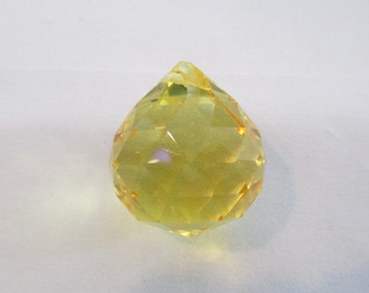1  YELLOW 30mm Crystal Balls - 30mm YELLOW Faceted Chandelier Crystal Prism Balls