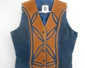 Vintage 1990s GRIZZLY OUTFITTERS navy and suede  western inlay / cut-out button-up vest, size Large