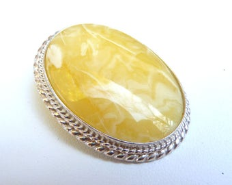 """Baltic Amber Milky Butterscotch Pendant Cameo Natural Untreated 1.55"""" 12.1 gram 925 silver"""
