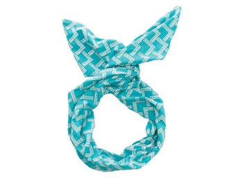 Twist Hair Scarf - Screen-printed Wire Headband - White Mountains on Teal