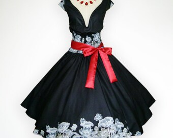 Joyful Black Vintage Flower 50s Pin up Rockabilly Swing Dress Full Swing Skirt