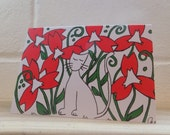Illustrated Cat Card with Red Flowers, Greetings Card, Note Card, Print of original artwork