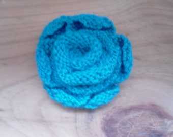 Hand Knitted Flower Brooch, Turquoise Knitted Brooch