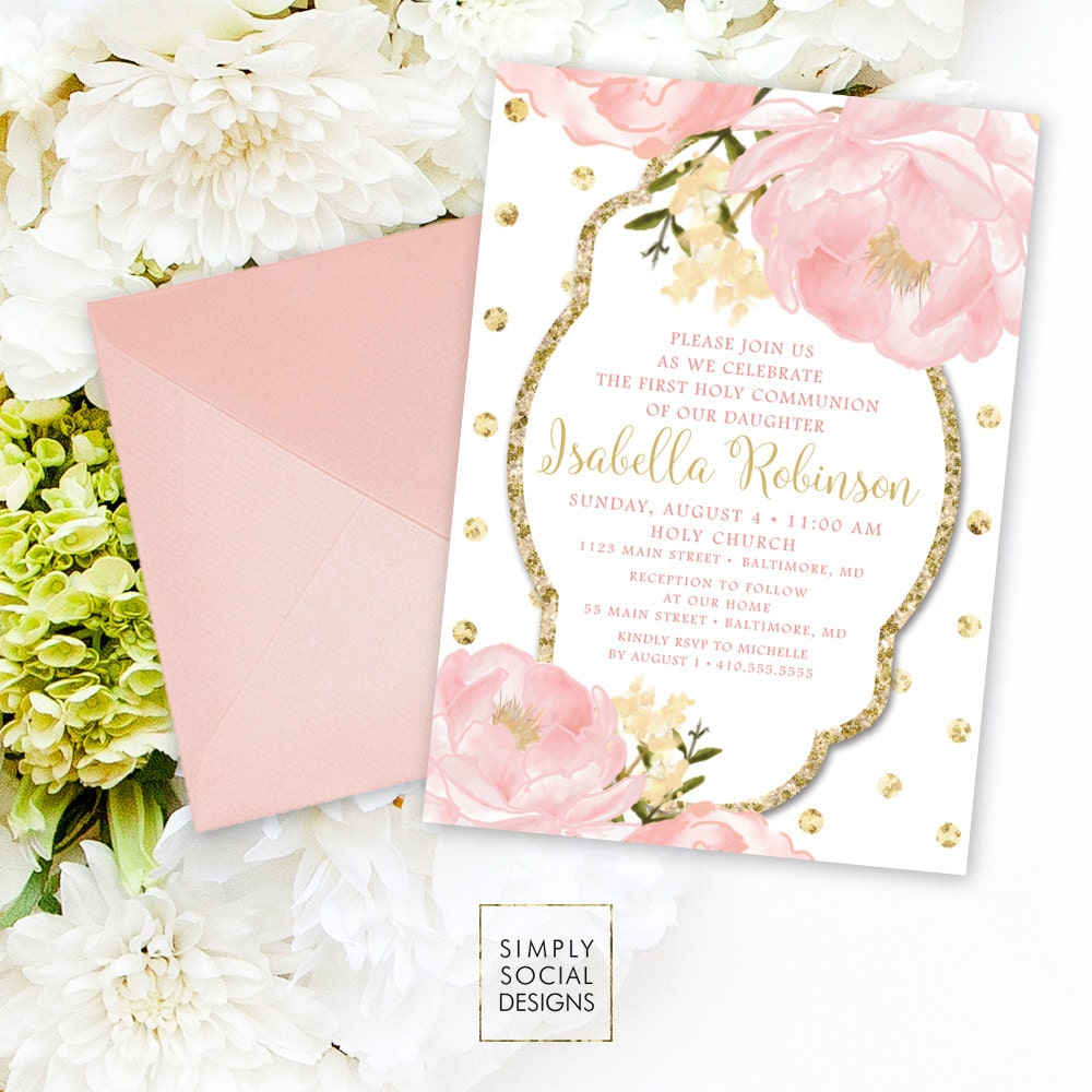 Floral Holy Communion Invitation - Personalized Custom Peony Flowers Pink Gold Polka Dot ...