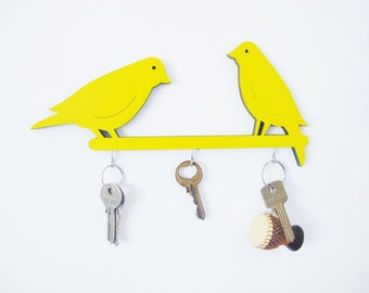 Key hook, yellow home decor, wall key holder, decorative key hook, decorative  wall hook, birds wall hook