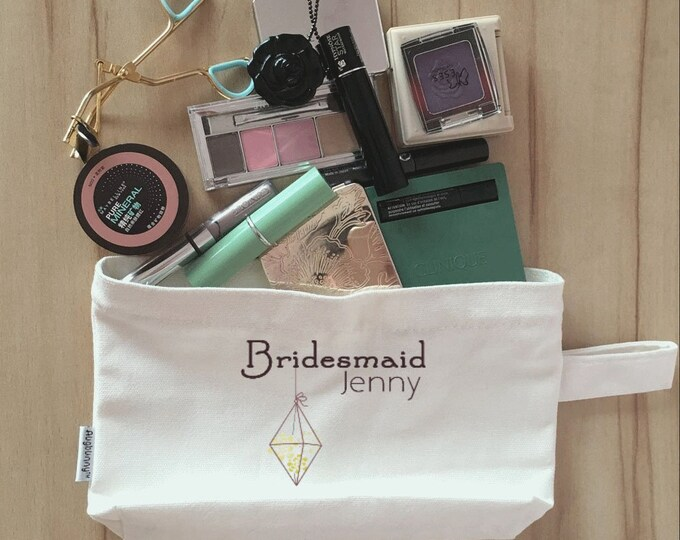 Wedding Day Makeup Bag, Wedding Party Cosmetic Bag, Bridesmaid Makeup Pouch, Wedding Party Gift, Pouch