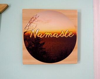 Namaste- Daily Inspiration Tile#7 - Wood & Fabric Wall Art