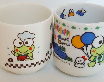 Two Sanrio Keroppi Lucky Ceramic Mugs.90s.Rare