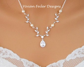 Wedding Necklace VINE Bridal Necklace Cubic Zirconia Y White or Ivory PEARLS Sterling Silver