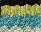 30% off Handknit Chevron baby blanket