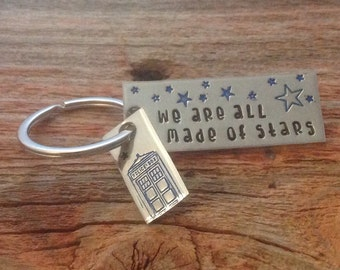 "Dr Who inspired ""We are all made of stars"" hand stamped keychain"