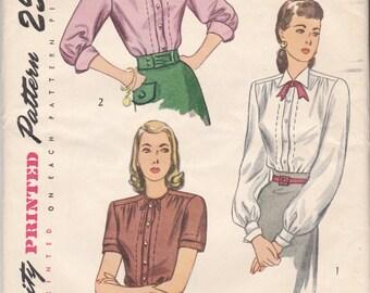 1940s Vintage Simplicity 2132, Misses' and Women's Blouse Size 18 UnCut