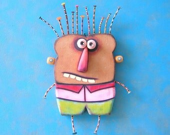 I'm Toast, Original Found Object Wall Sculpture, Wood Carving, Wall Decor, Figure Sculpture, by Fig Jam Studio