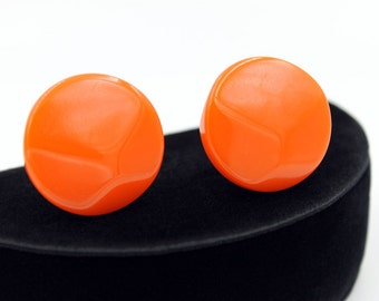 Orange Bakelite Button Earrings