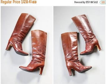 SPRING SALE chestnut brown leather high heeled boots - 70s Italian leather boots / ladies vintage leather boots - high heel 1970s boots