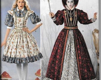 Simplicity 2325 / 0411 Queen of Hearts Alice In Wonderland Dress Renaissance Costumes Pattern UNCUT Size 6, 8, 10, 12