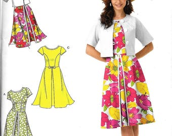 Simplicity 1797 Women Dress Inverted Pleat Sleeve Variation Jacket Sewing Pattern UNCUT Size 6, 8, 10, 12, 14