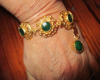 "Divine 7 1/2"" Long Bracelet w/3-Stone GREEN JADE Foci w/Oriental Fretwork, Jade 22K Gold rounds, 24K Mykonos Gold Disks, Jade Charm"