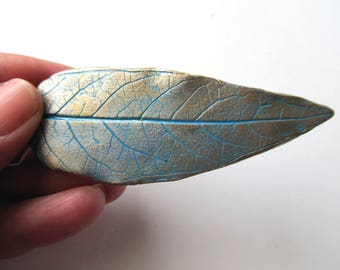 Barrette Real Walnut Leaf Impression in Clay Gold Silver Turquoise Colors Hair Clip Metallic Hair Accessories Scarf Clip