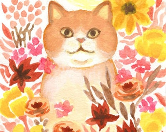 Sun Kitty ACEO Original cat Art 2.5x3.5""