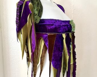 Upcycled wrap fringe skirt dance Burning Man Festival Fairy purple green cirque coverup Faerie Tutu Pixie Renaissance Costume convertible