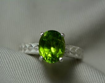 Peridot Ring, Natural Peridot Solitaire Ring 4.81 Carats Appraised At 475.00 Sterling Silver Size 7, Genuine August Birthstone, Certified