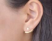 Silver Triangle Ear Jacket, Sterling Silver, Spikes Earjacket, Geometric Earring, Stud Earrings, Modern Jewelry, Xmas Gift, Lunai, EJK001