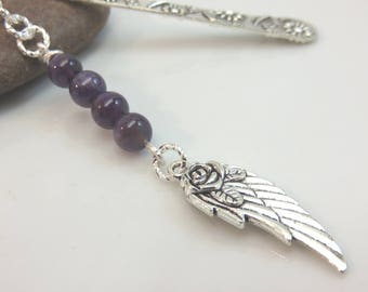 Guardian angel bookmark - silver metal bookmark - angel wing bookmark  - purple amethyst bookmark - stocking stuffer - gift for book lover