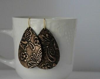 Bronze Brown Lace Leather Drop Teardrop Earrings