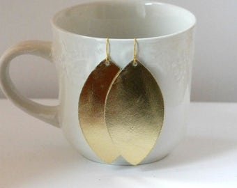 Gold Marquis Drop Leather Earrings