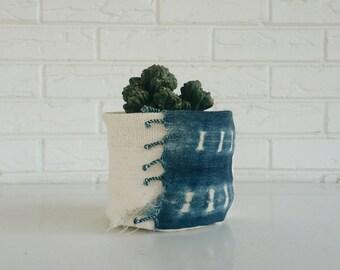Fringed Indigo and White Mudcloth Plant Cover - Fabric Planter - Boho Home Decor