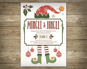 Mingle and Jingle Christmas Party, Elf Invitation, DIY Printable Christmas Invitation, Personalized, Studio Veil