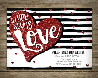 All You Need Is Love Invitation, Valentine's Day, DIY Printable Valentine Invitation, Personalized, Studio Veil