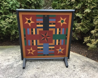 "19"", Parcheesi, Game Board, Wood, Hand Painted, Folk Art, Primitive, Game Boards"
