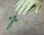 "Vintage 36"" Long Goldtone Chain Necklace 2 1/2"" Cross Green Pendant - AVON"