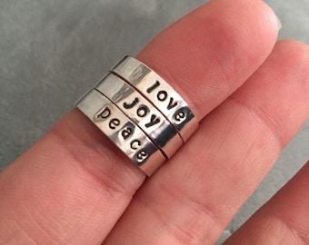 Love, joy, peace #stackable rings #gift #christmas # minimalist #teen gift